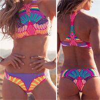 Fashion Women Sexy Bandeau Halterneck Strap Bathing Bikini Set Swimsuit S/M/L NG