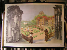 School Wall Picture Nice Old Card Baroque Art Architecture 104x76 Vintage Map ~ ...