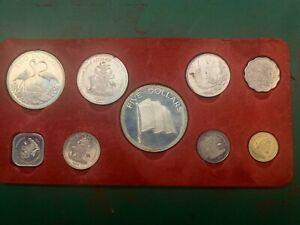 The Bahamas COINS - 1974 9x Coin Proof Set + Box & COA - Loose - Franklin Mint