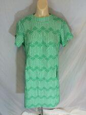 Vintage Womens 1960s 1970s Handmade Dress Green Geometric Pattern Size 18.5