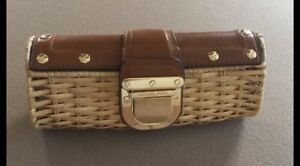 Michael Kors Straw And Leather Clutch Purse