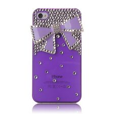 3D Crystal Bling Purple Bow With Diamond Transparent ForiPhone 4 / 4S Case Cover