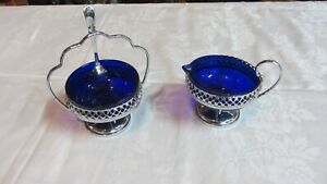 Vintage Cobalt Blue Glass Sugar Bowl W/ Spoon & Milk Cream Jug in Chrome Baskets