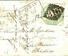 GB IRELAND Cover SUPERB 1s EMBOSSED 1852 India Destination Mail {samwells}MC196