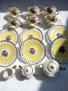 vintage small  tea set 15 piece ceramic yellow gold trim fragonard lovers
