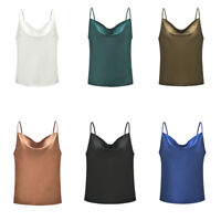 Women's Silk Satin Camisole Cami Plain Strappy Vest Tops Sleeveless Blouse Tank