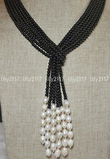 """50"""" Beautiful 3 Strands Natural 4mm Black Agate Freshwater Pearl Necklace Y22197"""