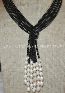 """50"""" Beautiful 3 Strands Natural 4mm Black Agate &White Freshwater Pearl Necklace"""