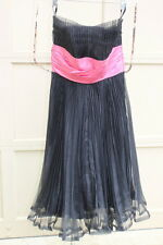 Betsey Johnson 4 Prom Cocktail Dress Black with Pink Strapless Womens Pleated W1