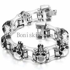 Retro Gothic Skull Head Chain Stainless Steel Biker Motorcycle Men's Bracelet