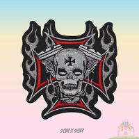 Live Free Ride Free Bikers Fire Embroidered Iron On Patch Sew On Badge Applique