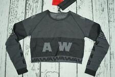New Alexander Wang H&M Grey LongSleeve Shirt Logo Long Top Jacquard-Knit Italy S