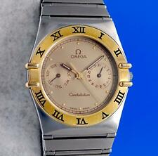 Men's Omega Constellation 18K Gold & SS Watch - Day / Date - Gold Dial