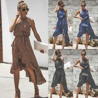 Womens Boho Dress Polka Dot Party Cocktail Ladies Clubwear Sundress Summer Beach