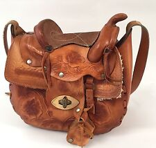 Horse Saddle Purse Hand Tooled Rose Brown Leather Stirrups Sherpa Vtg Mexico