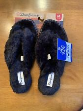 Women's Dearfoams Memory Foam Pile Thong Slippers Size 7-8 MEDIUM BLACK NEW!!