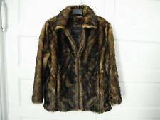 Ladies Tally-Ho Brown & Black  Faux Fur Coat Size Large