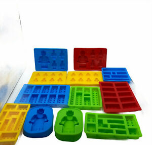 Lot Of 12 Silicone Lego Building Blocks & Figures Ice Mold Candy Jello Chocolate