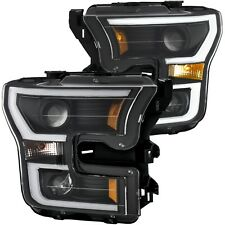 Anzo Plank Style Black/Amber Projector Headlights 2015-2017 Ford F-150 111347