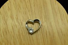 925 STERLING SILVER CZ IN FAUX TENSION SET DESIGN HEART PENDANT CHARM #A4201