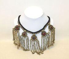 Ladies Bronze Metallic Crystal Dangle Vintage Belly Dancing Statement Necklace