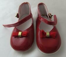 "Playhouse Patent Vinyl Dark Red Buckle Doll Shoes 3 1/2"" L"