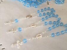 50 Pc Mini Rosary BLUE Baptism Favors Communion Favors/ Recuerdos De bautizo