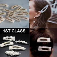Pearl Hair Clip Slide Hairpin Snap Bridal Hair Accessory Large UK SELLER