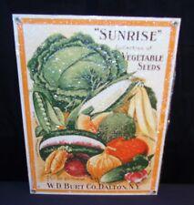 "NOS Sunrise Vegetable Seeds Porcelain Advertising Sign 8.25"" X 11"" Ande Rooney"