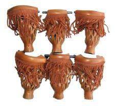 Set of 6 Pool Table Billiard Pockets With Fringe Camel