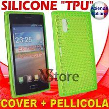 Cover Custodia Per LG L5 Optimus E610 Verde Gel Silicone TPU + Pellicola Display