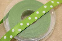 MEADOW GREEN Berisfords Satin Polka Dot Large Spot Ribbon 15mm - 12251 #664