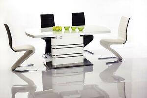 """""""GUCCI"""" White High Gloss & White Glass Top Extending Modern Dining Table"""