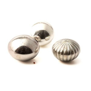 Lot (3) antique Czech large silver mercury headpin hat pin rondelle glass beads