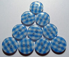 10 X Baby Blue Gingham Pattern 2-hole Resin Buttons 12mm Wide (fg3a)