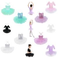 UK Girls Kids Ballet Tutu Dress Dance Gymnastics Leotard Ballerina Skate Costume