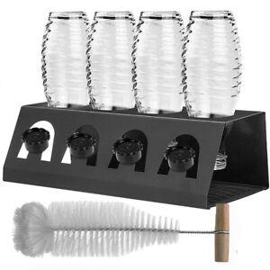 ALU Flaschenhalter Abtropfhalter Abtropfgestell Bürste für SodaStream Crystal