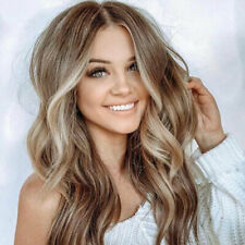 Fashion Women's Long Curly Wigs Brown Gold Blonde Wig Full Wavy Hair Ombre Party