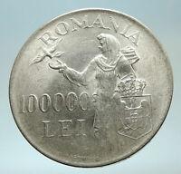 1946 ROMANIA Michael I Romanian Lady & Bird Antique Genuine Silver Coin i76632
