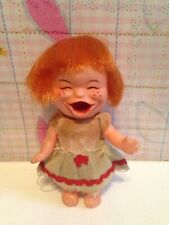 "Rare Vintage Little Plastic vinyl Doll Moody cutie Japan red hair tongue 4"" face"