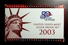 2003-S US Mint Silver Proof Set Includes Silver State Quarter Proofs - Box & COA
