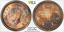1942(B) INDIA BRITISH ONE RUPEE PCGS AU55 SILVER HIGH GRADE COLOR TONED (MR)