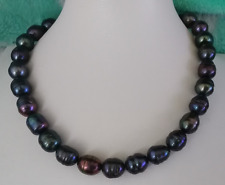 12-13mm south sea baroque  black red pearl necklace necklace18inch925s