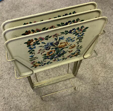 Vintage Durham (3) Metal Floral T. V. Trays With Stand