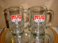 "2 RARE ""MUG"" OLD FASHIONED ROOT BEER SODA THICK GLASS MUGS"