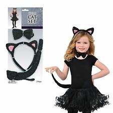 Childrens Black Cat Set Ears Tail Bow Tie Girls Fancy Dress Costume Accessories