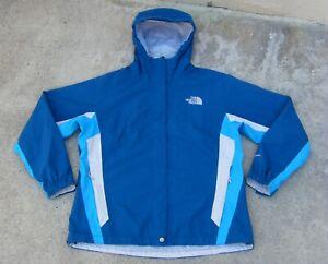 The North Face HyVent waterproof Hooded Ski Snow Rain Jacket women's XL Blue