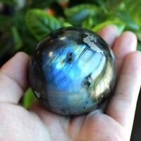 60mm Large Natural Labradorite Quartz Crystal Ball Sphere Rock Gemstone Healing