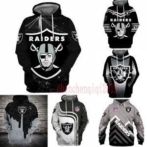 Oakland Raiders Hoodie Fan's Hooded Pullover Sweatshirt Casual Jacket Coat Gift