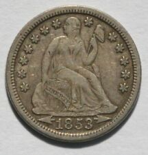 1853 Liberty Seated Dime - Var 3 Stars, Arrows - Unslabbed, Ungraded - EF